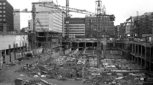 "Stockholm late 1960s construction site for ""Gallerian"", photo taken by Sten-Åke Stenberg"