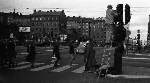 The day before Sweden changed to right hand traffic 1967, photo taken by Sten-Åke Stenberg